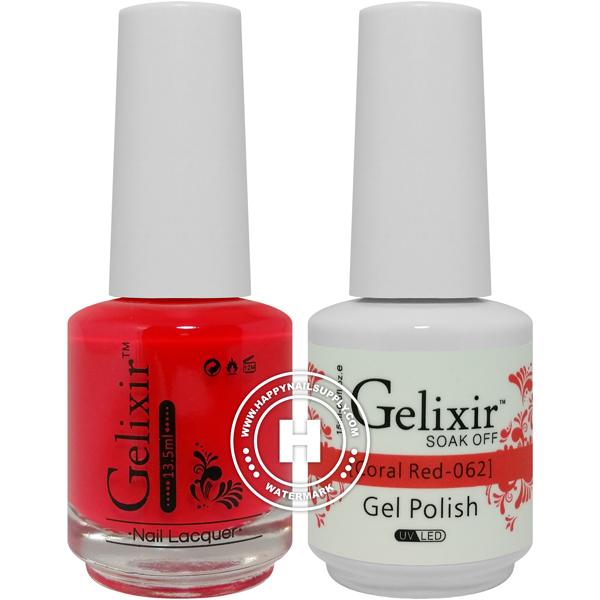 Gelixir Soak Off Gel Polish - Coral Red 0.5oz 2/Pack